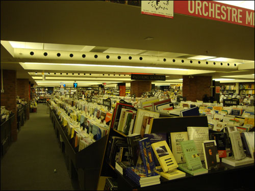 Sheet music section on the second floor of Archambault