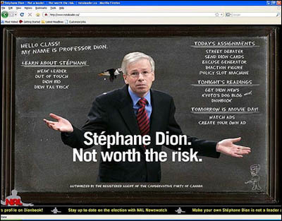 Stephane Dion being crapped on by a puffin.