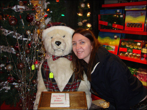 C.K. and Polar Bear in Niagara-on-the-lake's Christmas shop