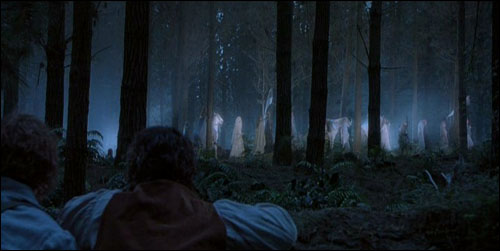 Frodo and Sam watch elves depart Middle-Earth