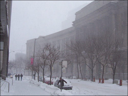 Front Street snow, Toronto, March 8, 2008