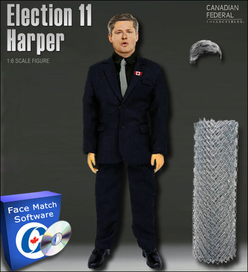 Election 11 Harper figure: complete with security fence, spare hair and face match software