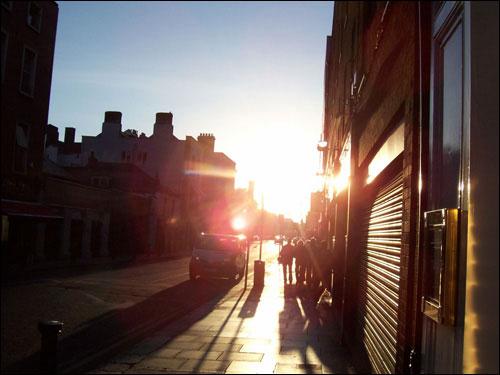 Baggot Street, Dublin, Setting Sun, May 2008