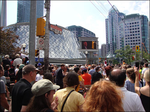 Jack Layton's state funeral sight, Roy Thomson Hall