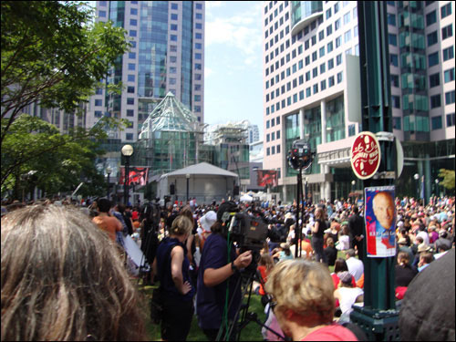Watching Jack Layton's funeral, Jack Layton chalk memorial,  David Pecaut Square beside Roy Thomson Hall