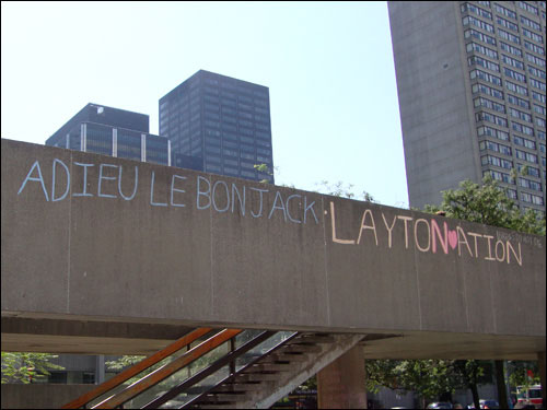 Jack Layton chalk memorial,  Nathan Phillips Square