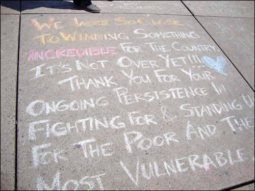 Jack Layton chalk memorial,  Nathan Phillips Square