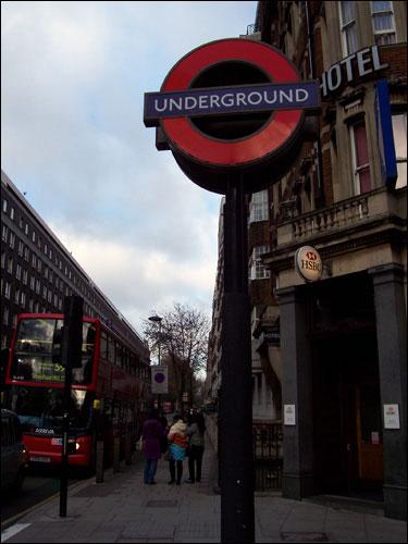 London Underground sign, December 2008