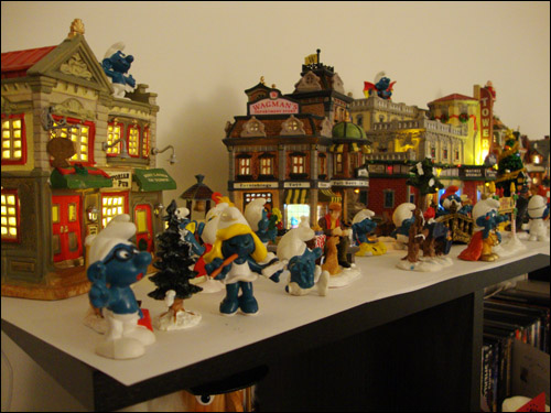 Smurfs invade my Christmas village