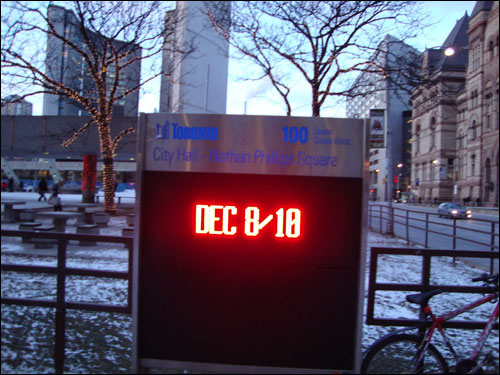 City Hall sign: Dec 8