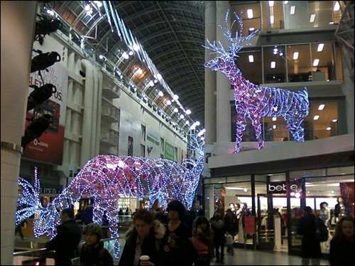 Christmas decorations at Eaton Centre
