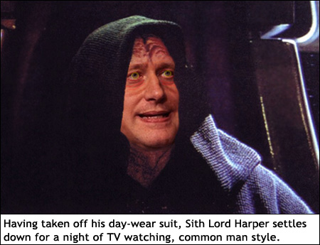 Having taken off his day-wear suit, Stephen Harper settles down for a night of TV watching, common man style.