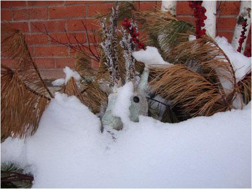 Buried Reindeer, outside an Oakville business, February 14, 2014
