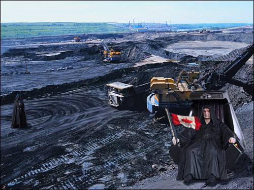 Emperor Harper and one of his minions supervise the destuction of the environment and the creation of dirty fossil fuel at the Alberta Tar Sands.